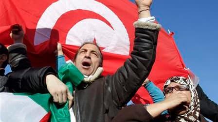 Les Tunisiens vivant en France ont manifesté leur joie samedi dans plusieurs villes, comme ici à Lyon, après la fuite en Arabie saoudite du président Zine el Abidine Ben Ali, exprimant leur espoir d'un changement démocratique. /Photo prise le 15 janvier 2