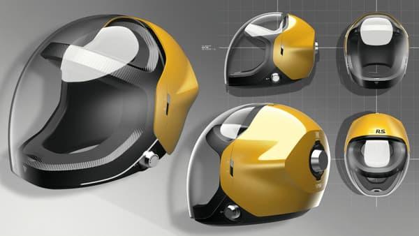 Renault a doté d'une large visière vitrée le casque de ses pilotes.
