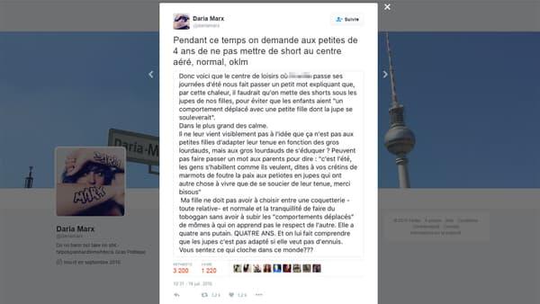 Le post de la maman publié sur Facebook a été partagé sur Twitter, captures d'écran à l'appui.