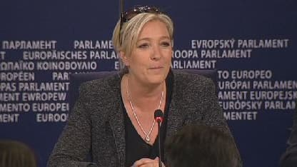 Marine Le Pen donne une conférence de presse à Bruxelles, le 28 mai 2014.