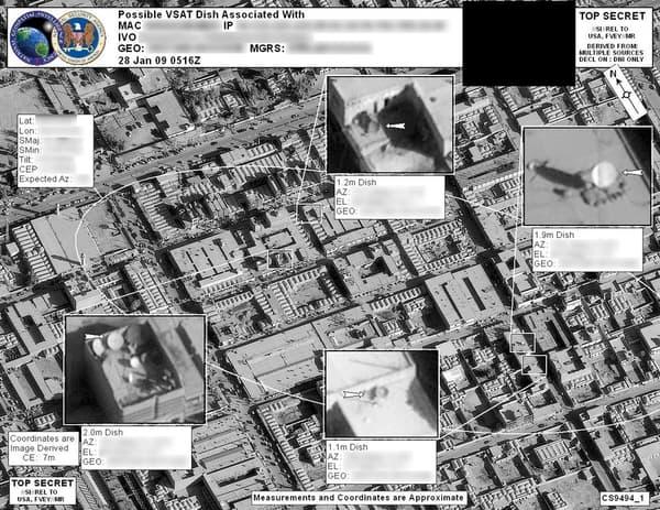 Cartes satellites utilisées dans le cadre du programme Ghoshunter, pour localiser une cible.
