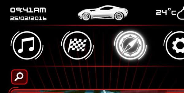 Le format portrait de l'écran principal du tableau de bord permet d'afficher de nombreuses informations et des commandes tactiles.