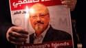 Un portrait de Jamal Khashoggi lors d'une manifestation devant le consulat d'Arabie saoudite à Istanbul, le 25 octobre.