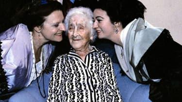 Jeanne Calment à son 114ème anniversaire.