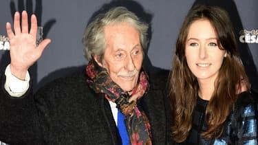 Jean Rochefort et sa plus jeune fille, Clémence, à la cérémonie des César à Paris, le 20 février 2015