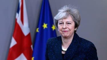 La Première ministre Theresa May après sa rencontre avec le Président du Conseil européen à Bruxelles jeudi 7 février
