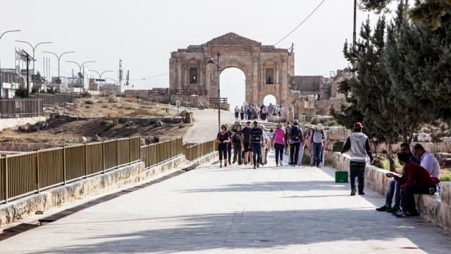 La scène de l'attaque sur le site archéologique et touristique de Jerash, en Jordanie, le 6 novembre 2019.