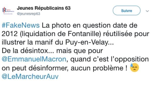 Le Tweet des Jeunes Républicains du Puy-De-Dôme