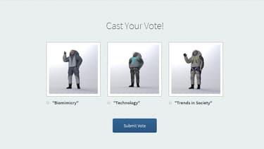 Les trois designs de tenues d'astronautes proposées au vote des internautes par la Nasa.