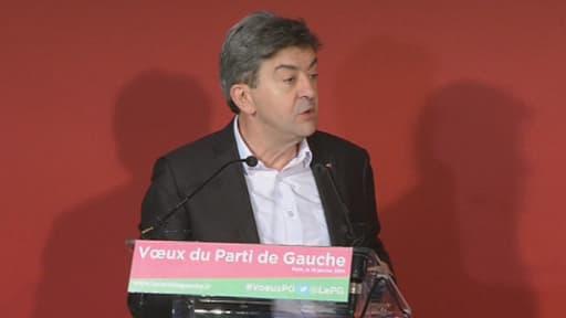 """Jean-Luc Mélenchon, le 16 janvier lors de ses voeux, a ironisé sur le """"coming-out"""" social-démocrate de François Hollande."""