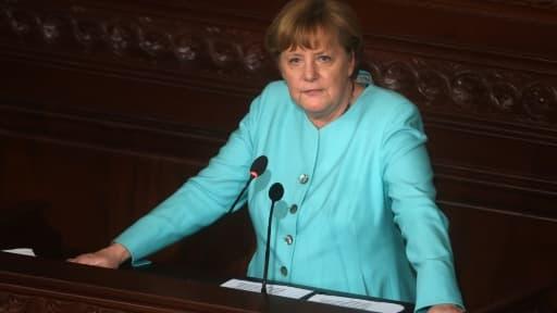 La chancelière allemande Angela Merkel à Tunis, en Tunisie, le 3 mars 2017