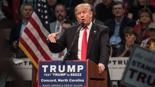 Le milliardaire Donald Trump, candidat à l'investiture du parti républicain pour la présidentielle américaine de 2016, lors d'un précédent meeting à Concord, en Caroline du Nord, le 7 mars.