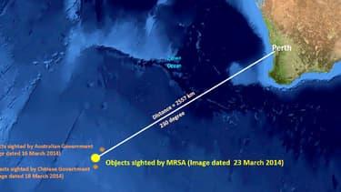 Cette carte montre l'endroit où les 122 objets ont été repérés par satellite, à 2.500 km de Perth, en Australie.