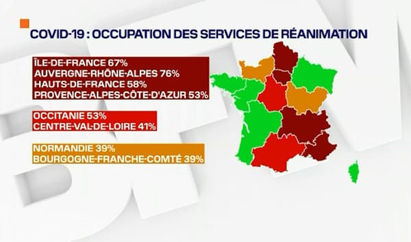 L'occupation des services de réanimation le 26 octobre 2020