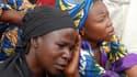 Des mères de jeunes filles enlevées, rassemblées le 5 mai par les autorités pour leur communiquer des informations.