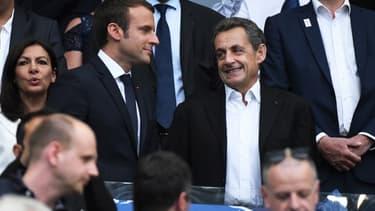 Emmanuel Macron et Nicolas Sarkozy lors de la finale de la coupe de France le 27 mai 2017.