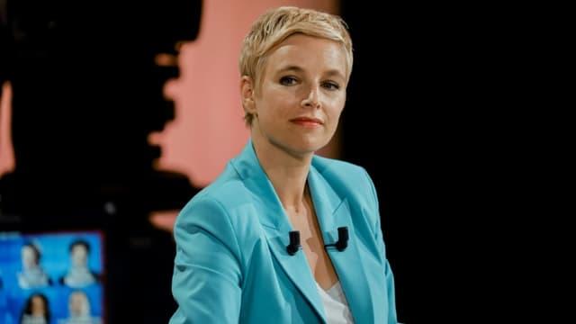 Clémentine Autain (LFI), candidate aux régionales en Ile-de-France, avant un débat télévisé, le 14 juin 2021 à Paris