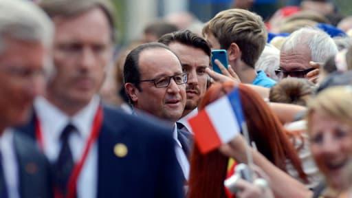 Le président François Hollande, lundi, à Liège en Belgique.