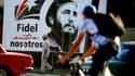 Une affiche à l'effigie de Fidel Castro, dans les rue de La Havane, le 24 novembre 2017.