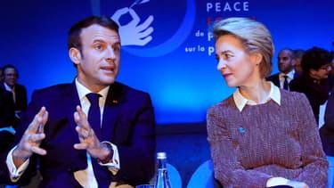 Emmanuel Macron et Ursula Von der Leyen au Forum sur la paix ce mardi