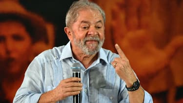 Luiz Inácio Lula da Silva le 25 janvier 2018 lors d'un meeting à São Paulo