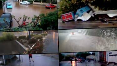 Photomontage des images d'intempéries envoyées par les témoins BFMTV.