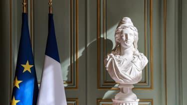 Un buste de Marianne, le 13 mars 2020 au ministère de l'Intérieur.