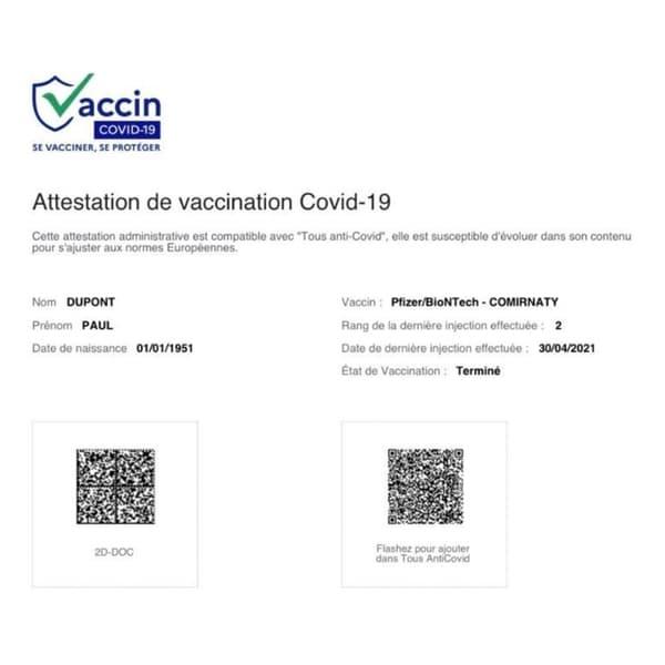 Les QR Codes de l'attestation de vaccination contre le Covid-19.