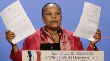 Christiane Taubira est intervenue lors du point presse en marge du Conseil des ministres.