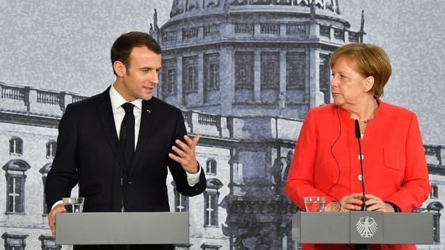 Le président français Emmanuel Macron et la chancelière allemande Angela Merkel, à Berlin le 19 avril 2018.