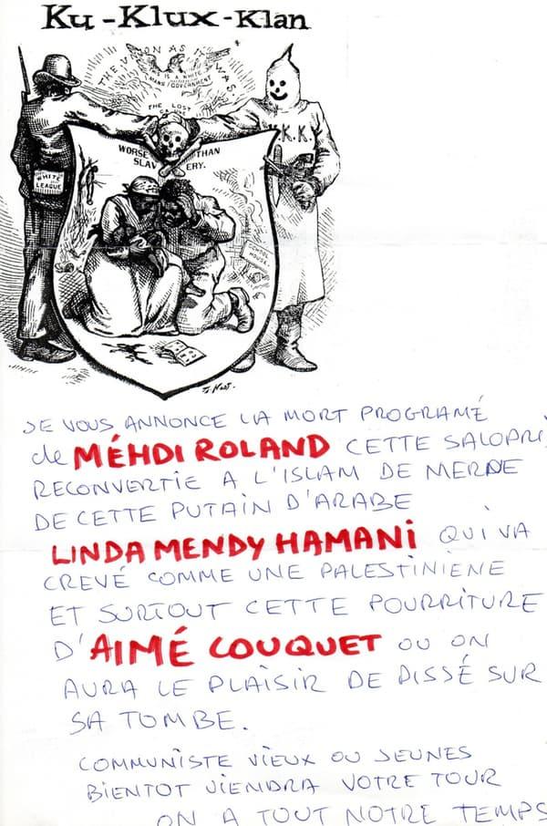 Copie de la lettre anonyme envoyée aux trois opposants communistes au maire de Béziers.