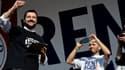 Le leader de la Ligue du Nord, Matteo Salvini, a reçu par vidéo le soutien de la présidente du FN Marine Le Pen lors d'un rassemblement à Rome, le 28 février dernier.