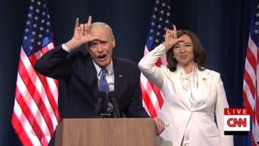 "Jim Carrey en Joe Biden et Maya Rudolph en Kamala Harris dans ""Saturday Night Live"""