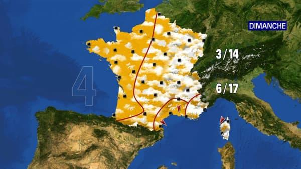 Les prévisions météorologiques du dimanche 18 avril 2021.