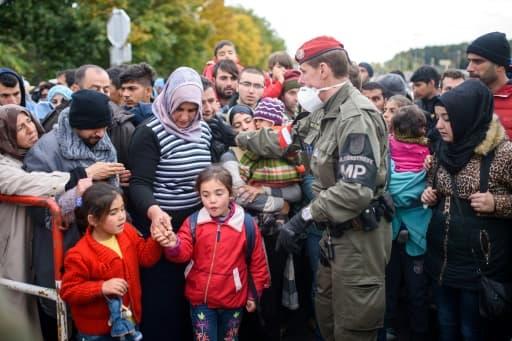 Migrants et réfugiés à le 20 octobre 2015 à Sentilj à la frontière entre la Slovénie et l'Autriche
