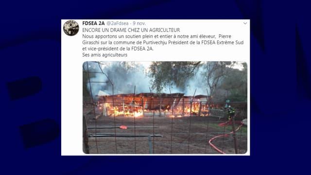La bergerie a pris feu samedi matin près de Porto-Vecchio.