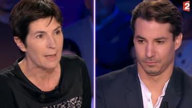 """Jérémy Ferrari face à Christine Angot, le 11 novembre 2017 dans """"On n'est pas couché"""""""