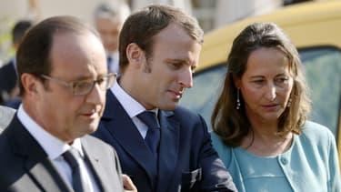 François Hollande, Emmanuel Macron et Ségolène Royal, le 9 septembre dernier