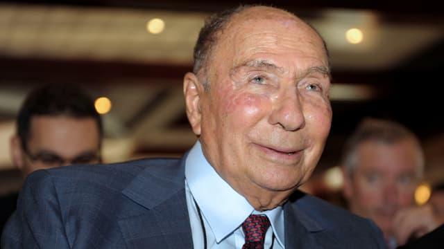 Serge Dassault, lors de la présentation des résultats de son groupe, en 2014.