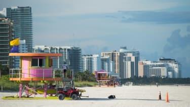 La plage de Miami désertée avant le passage d'Irma, le 7 septembre 2017.