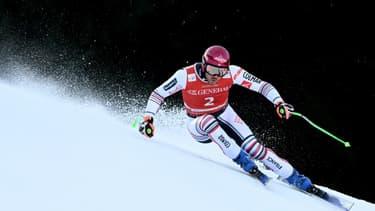 Le Français Nils Allègre lors d'une descente d'entraînement à Garmisch-Partenkirchen, le  4 février 2021
