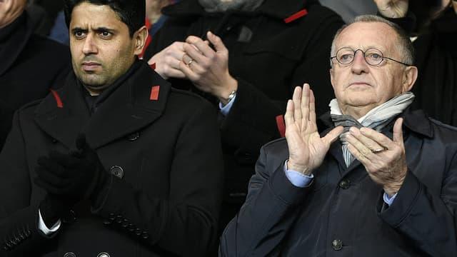 Nasser Al-Khelaifi (PSG) et Jean-Michel Aulas (OL)
