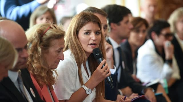 Marlène Schiappa, la secrétaire d'État chargé(e) de l'Égalité entre les femmes et les hommes et de la lutte contre les discriminations, le 3 septembre 2019 à Matignon à Paris.