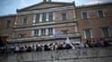 Manifestation devant le parlement grec, dimanche 21 juin à Athènes.