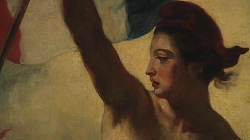 """Détail du tableau """"La Liberté guidant le peuple"""" exposé au Louvre Lens"""