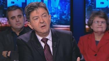 Jean-Luc Mélenchon sur le plateau de BFM Politique, dimanche 16 février 2014.