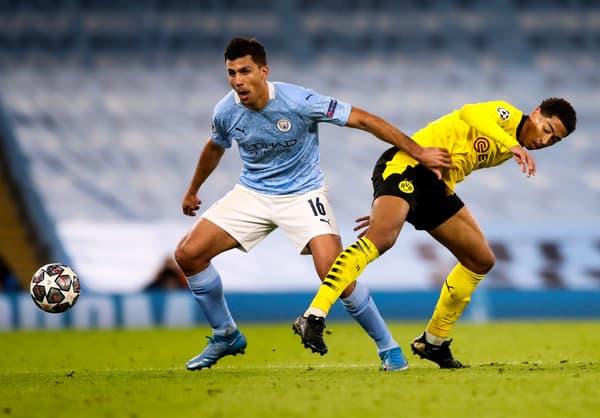 Rodri face à Jude Bellingham lors de Dortmund-Manchester City