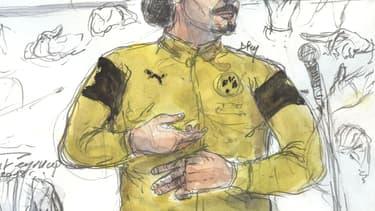 Jawad Bendaoud dessiné lors de son procès.