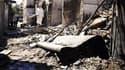 Une rue dévastée de Damas.