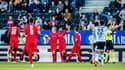 Les joueurs du Stade Rennais après le but de Romain Del Castillo contre Rosenborg